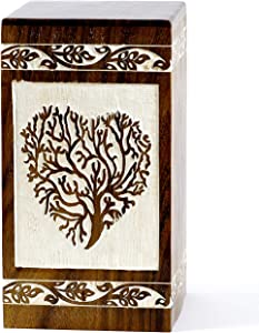 Sharvgun Rosewood Wooden Cremation Urn for Human Ashes - Original Tree of Life Urn Box for Ashes - Adult Funeral Urn - Premium Urn for Pets (250 Cu/in)