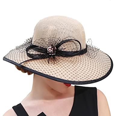 Kueeni Women Church Hats Mother of The Bride Hats with Matching Suits  Available (Beige) d8ef433daa3a