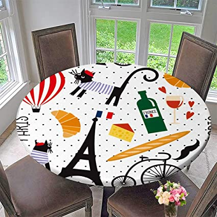 Amazon Pinafore Home Round Fitted Tablecloth French Culture