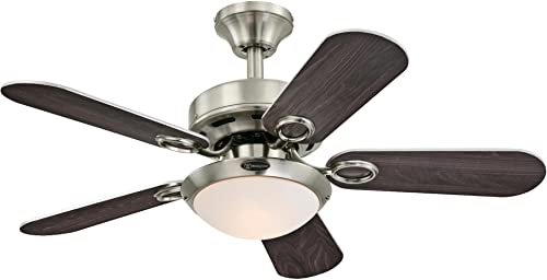 Westinghouse Lighting 7203200 Cassidy Indoor Ceiling Fan with Light, 36 Inch, Brushed Nickel