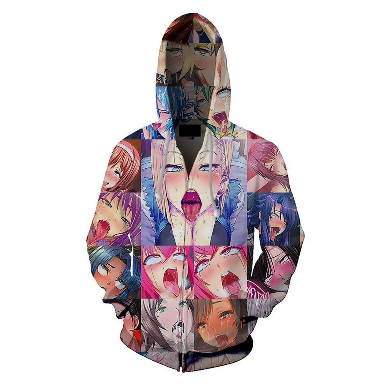 paloli 3D Ahegao Hoodie Sweatshirt Unisex Print Sweater Long Sleeve Tshirt Sets Pullover Tracksuit Zip-Up Jacket