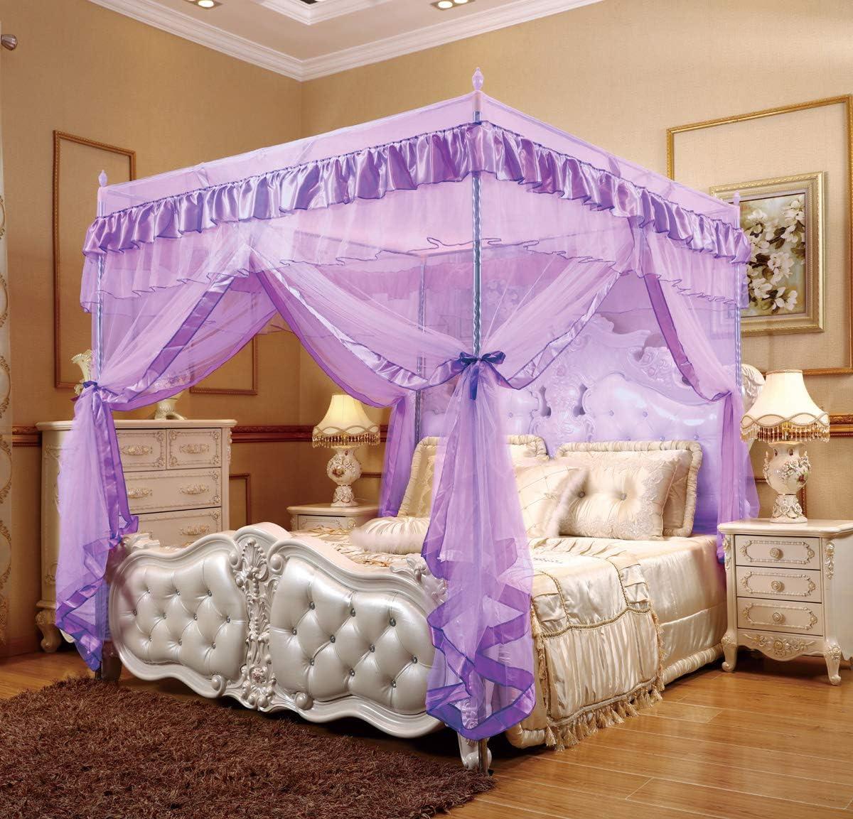 Nattey 4 Corners Princess Bed Curtain Canopy Net Canopies (Twin, Purple)