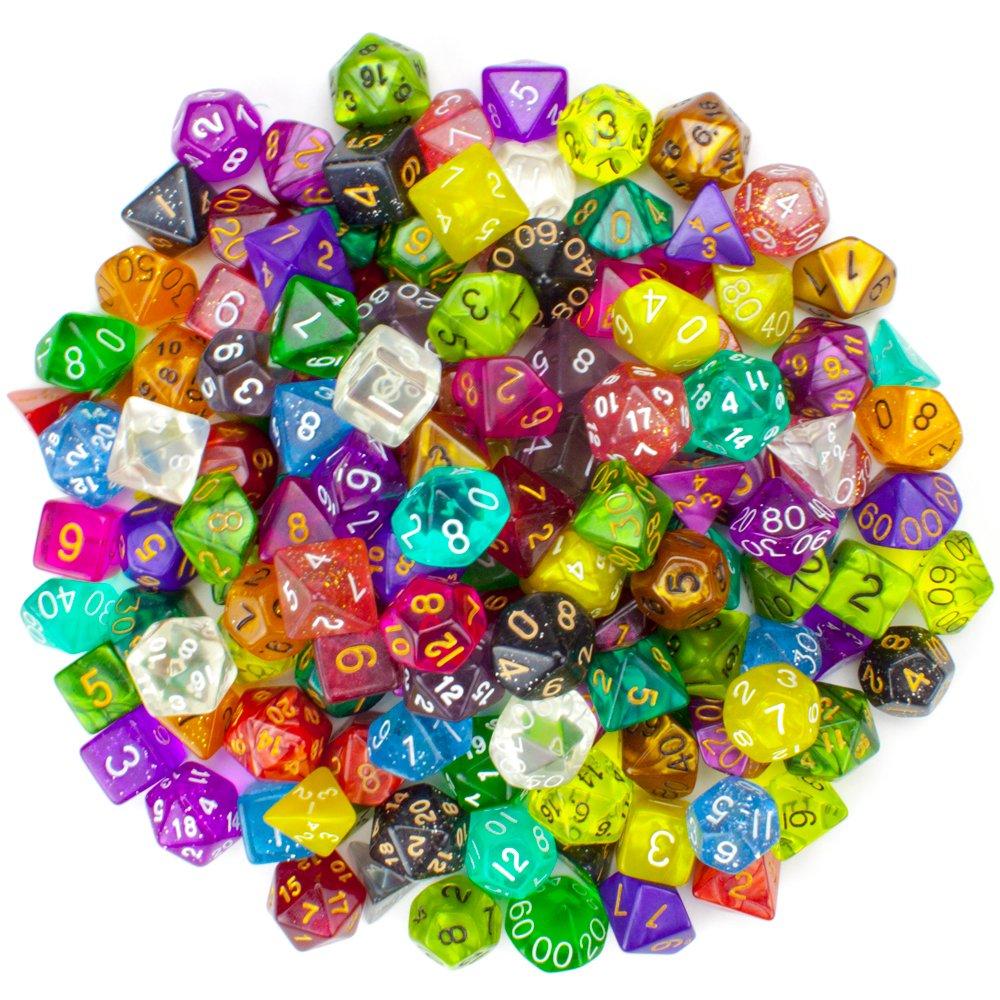 Wiz Dice Series II 100+ Pack of Random Polyhedral Dice - 15 Guaranteed Sets of Random Colors by Wiz Dice