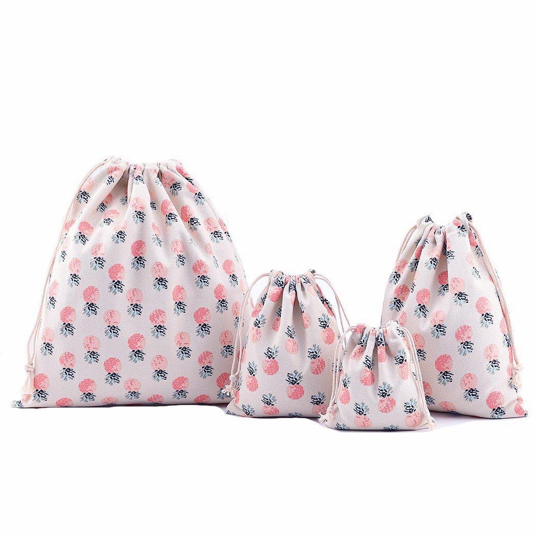 Abaría - 4 unidades bolsa de algodón grande - Bolsa inserto organizador para ropa juguete pañales