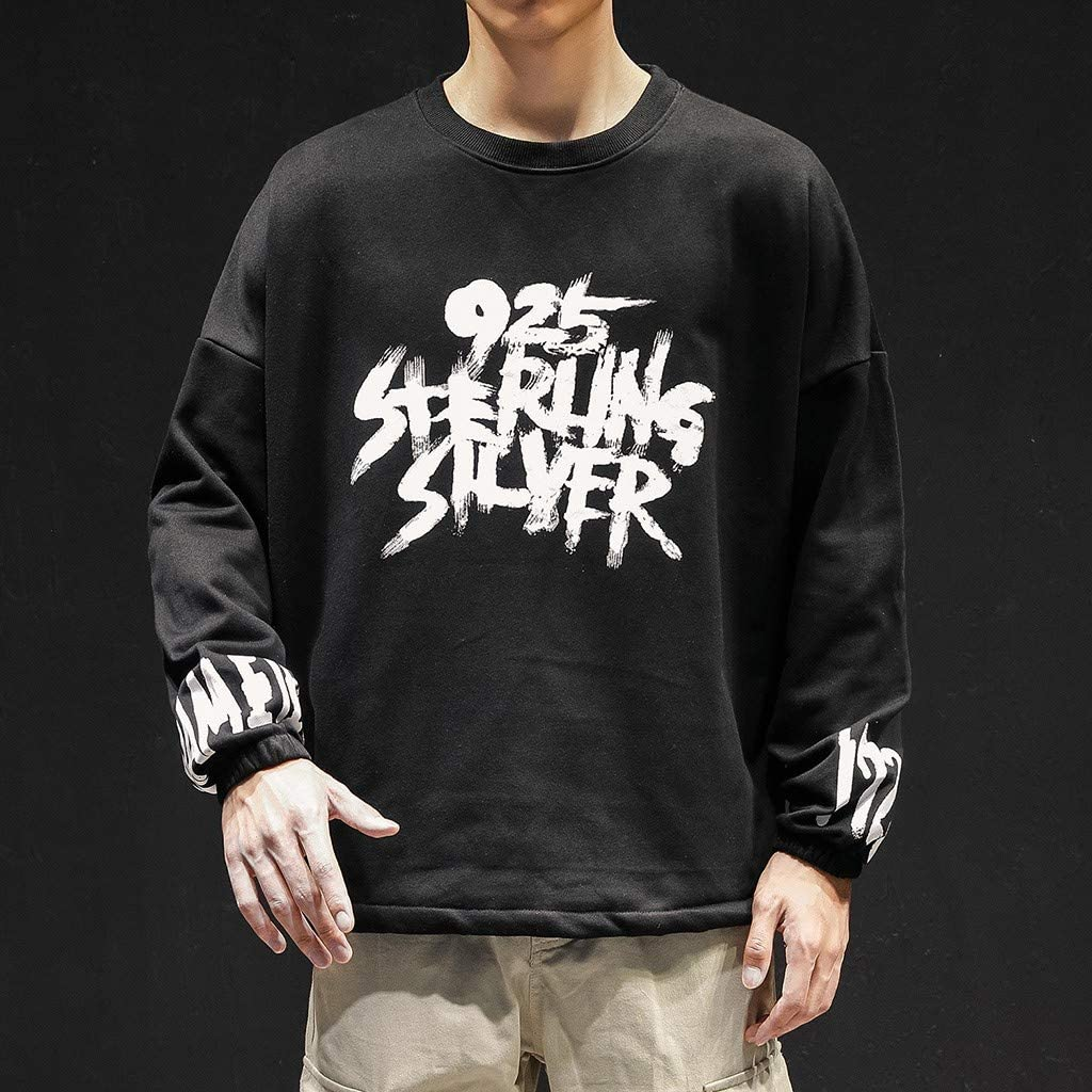 Landscap Hip Hop Cool Tops for Men Autumn and Winter Alphabetic Printed Long-Sleeved Regular-Fit Tops Shirts