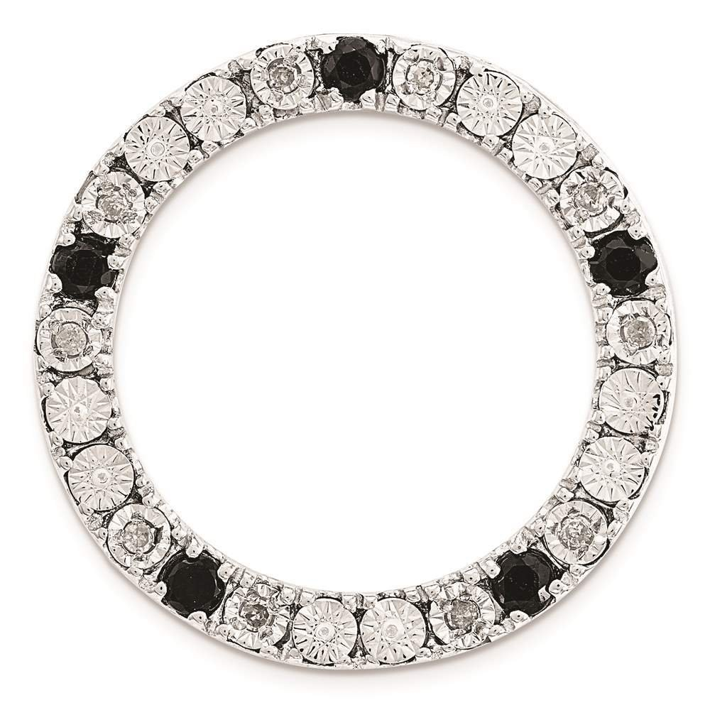 925 Sterling Silver Polished Medium Diamond /& Black Sapphire Chain Slide by Stackable Expressions