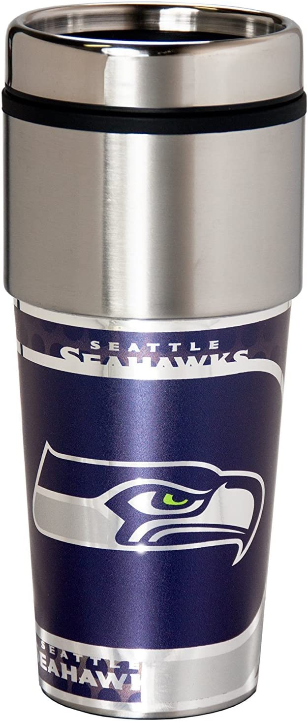 NFL Seattle Seahawks 16 oz Stainless Steel Travel Tumbler with Metallic Graphics Team Color