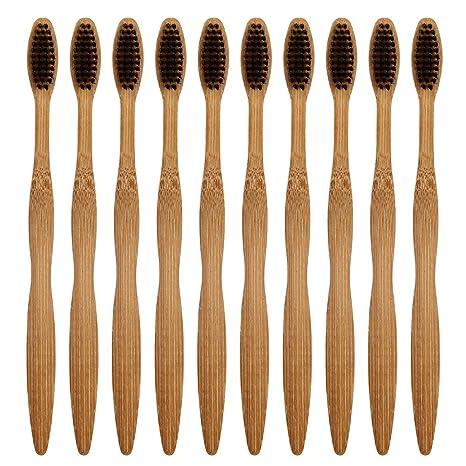 Kitchnexus - Cepillo de dientes de bambú (madera natural, respetuoso con el medio ambiente