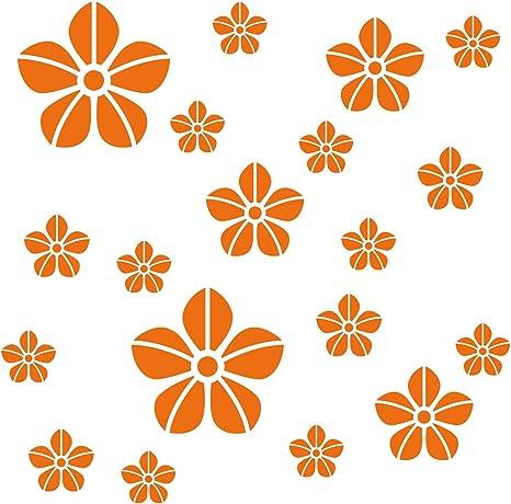 Kleb Drauf 19 Blumen Orange Matt Wandtattoo Wandaufkleber Wandsticker Aufkleber Sticker Wohnzimmer Schlafzimmer Kinderzimmer Kuche Bad Deko Wande Glas Fenster Tur Fliese Amazon De Kuche Haushalt