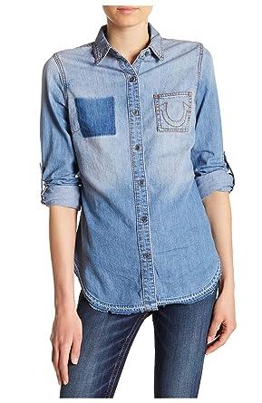 True Religion Women s Denim Paneled Boyfriend Button-Down Shirt in Spring  Daze (Small) c68d295cb4