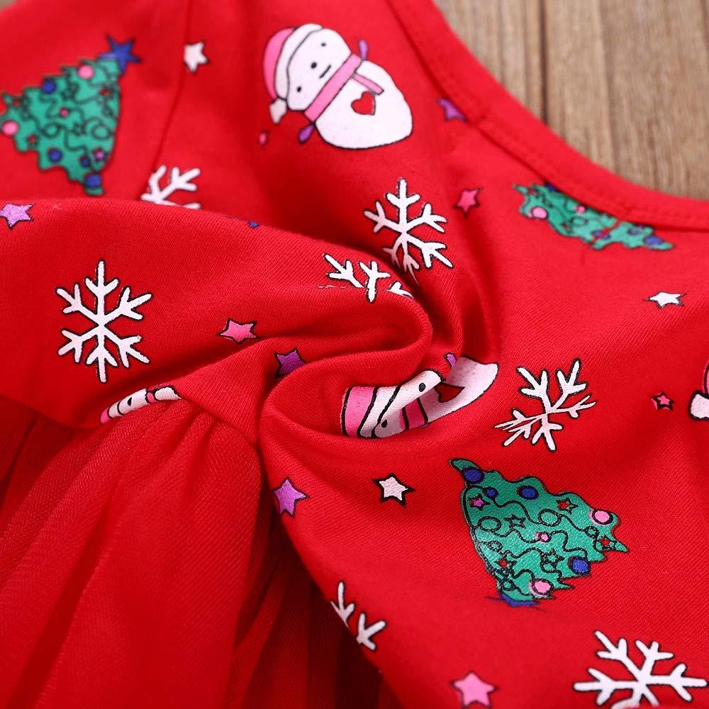 Weiyun Toddler Kid Baby Girl Long Sleeve Cartoon Snowman Print Dress Christmas Clothes