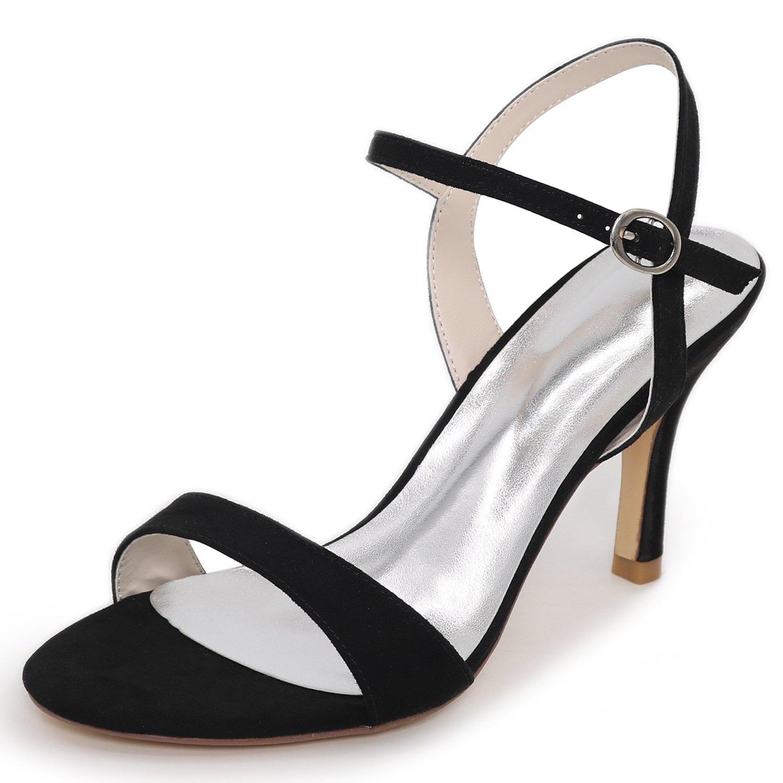 Elobaby Zapatos De Boda De Las Mujeres del OtoñO Sandalias De TacóN Medio SatéN Hebilla Noche Nueva Dama De Honor/8.5cm TalóN 37 EU|Black
