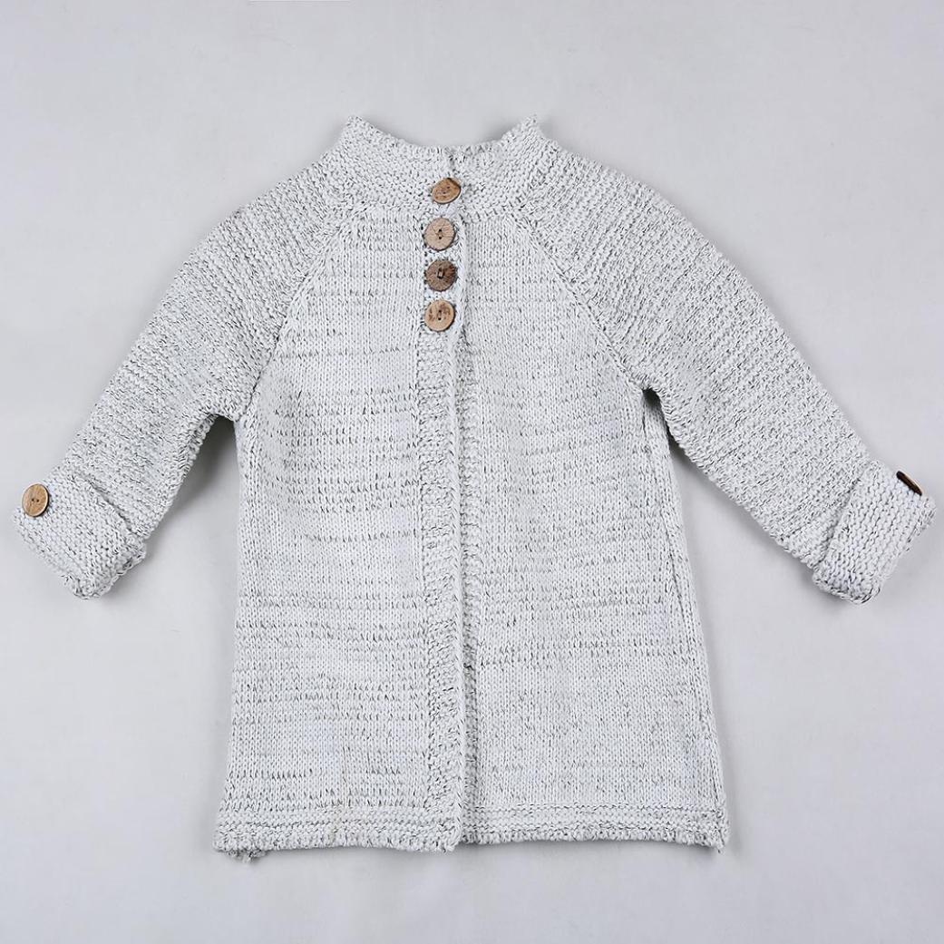 Amazon.com: iuhan bebé bebé niñas Outfit Ropa Botón Knitted ...