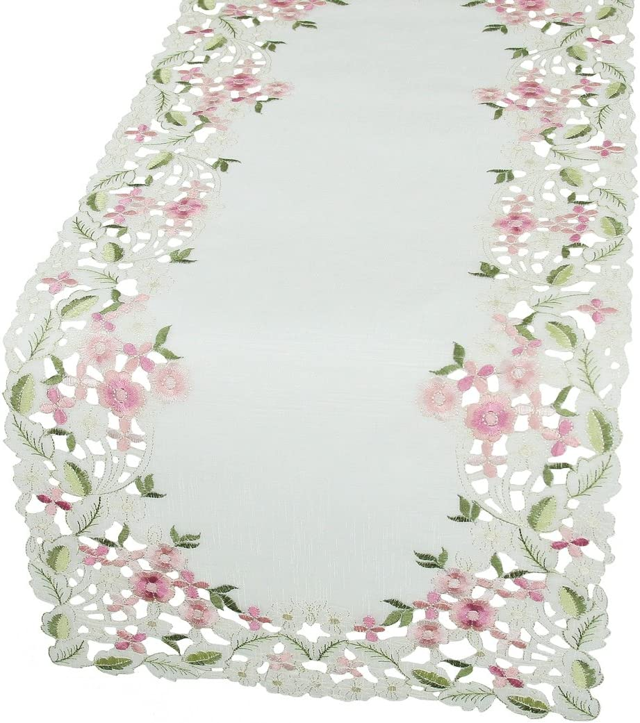 12 by 28 Xia Home Fashions XD13041 Fairy Garden Sheer Embroidered Cutwork Mini Spring Table Runner