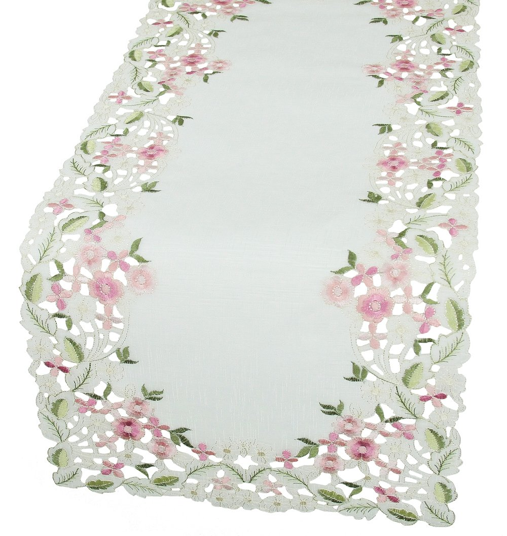 15 by 54-Inch XD13041 Xia Home Fashions Fairy Garden Embroidered Cutwork Spring Table Runner