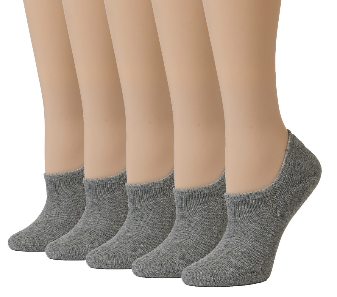Leotruny Women's Cushion Sweat-absorbent Breathable Soft Athletic No Show Socks (Light Gray)
