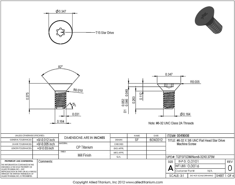CP Allied Titanium 0049008, #8-32 X 3//8 UNC Flat Head Star Drive Machine Screw Grade 2 Pack of 12