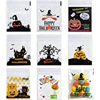 HOMBYS 400 Halloween candy bags, Halloween Party self-adhesive transparent biscuit bags, candy bags, pastry bags…