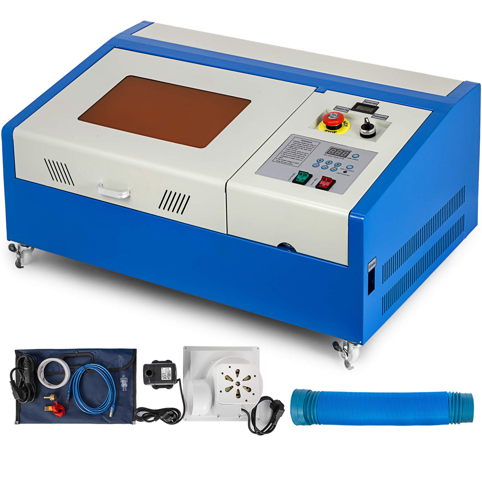 Mophorn Laser Engraving Machine 40W CO2 Laser Engraver 12x8 Inch Laser Cutting Machine USB Port LCD Display with Rotate Wheels(40W 300x200) by Mophorn (Image #2)