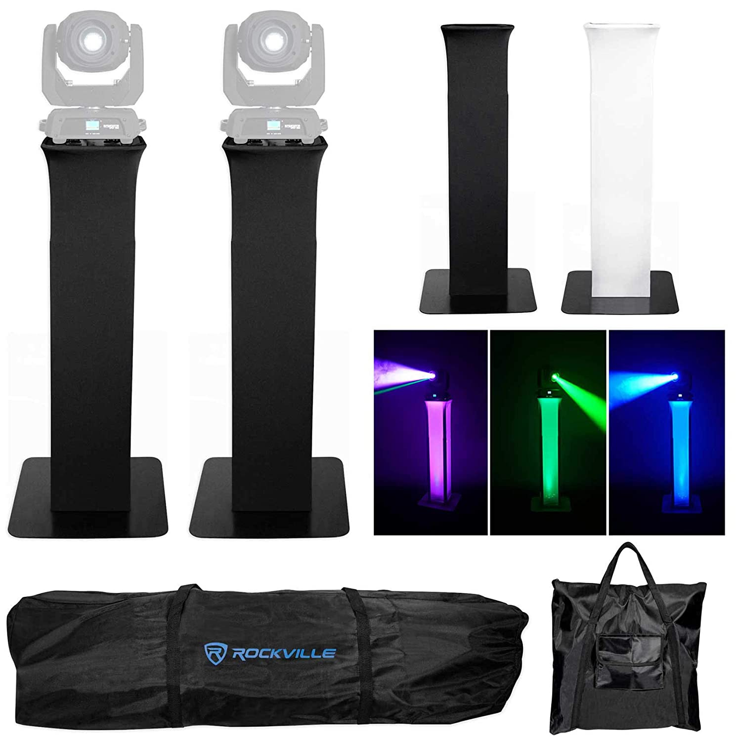 2 Rockville RTP32B Totem Style DJ Speaker Stands w/Black+White Scrims+Carry Bags (2) RTP32B
