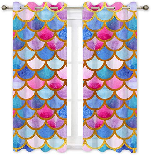 QH Colorful Mermaid Scale Decorative Window Curtain Panels Drapes Blackout Thermal Insulated Light Blocking 84L x 42W inches Each Panel Set of 2 Panel