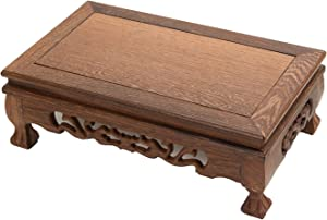LuoLuo Chinese Display Stand Wooden Rectangle Shape Tiger Feet Carved Solid Rosewood JiChi Wood Display Base Holder for Arts Antique Etc, Home Decoration (M 24cm15cm9.5cm)