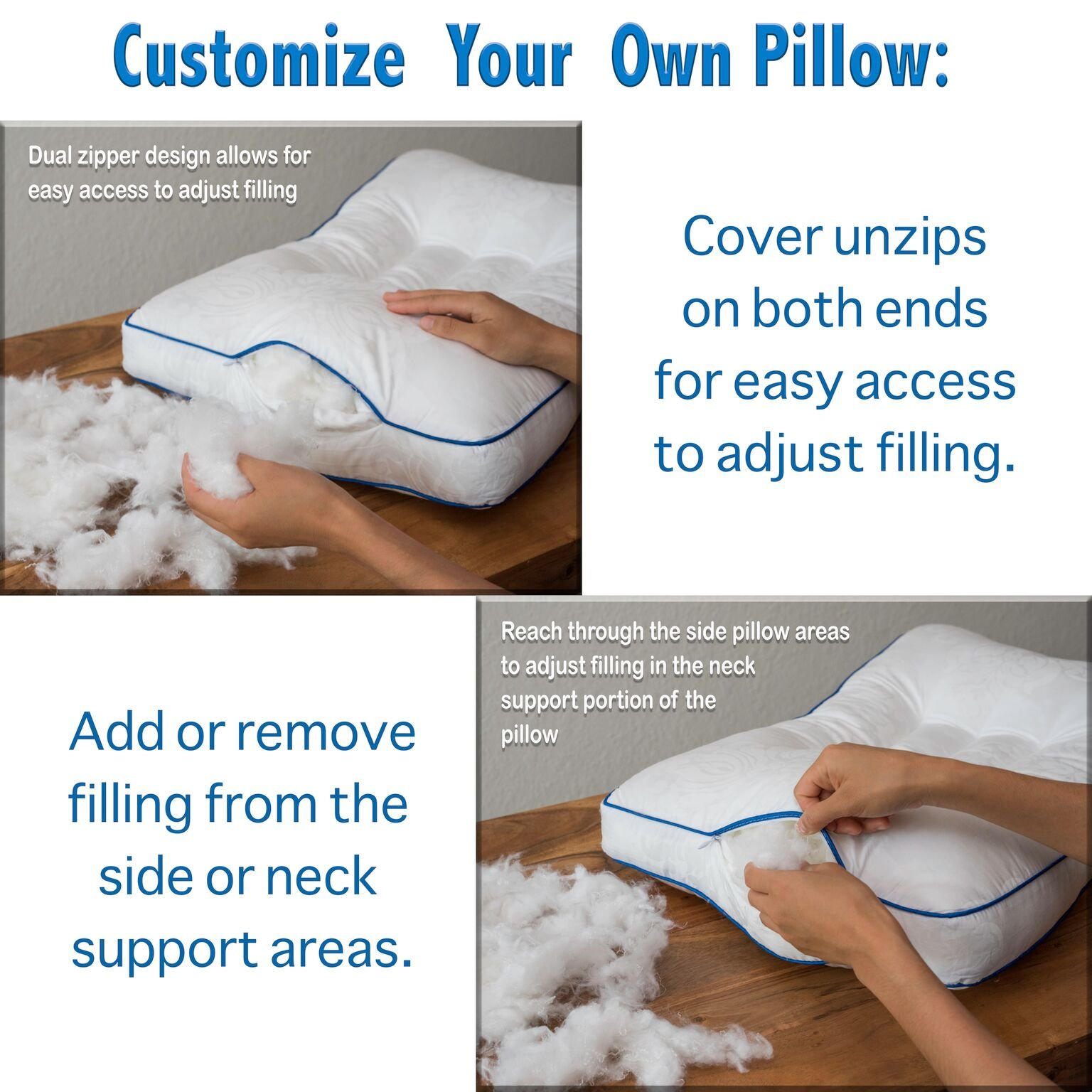 Nature's Guest Cervical Support Pillow - Fully adjustable, doctor recommended contour design - Helps reduce neck and back pain, improve cervical health - Hypoallergenic, For back and side sleepers by Nature's Guest (Image #6)