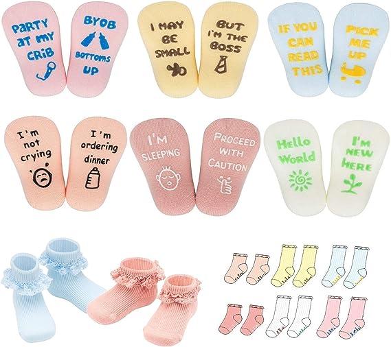 nuoshen 6 Pairs Baby Shower Gifts Socks Alphabet Baby Socks Gift Set Cute Funny Present Socks for Baby Boys Girls 3-18 Month