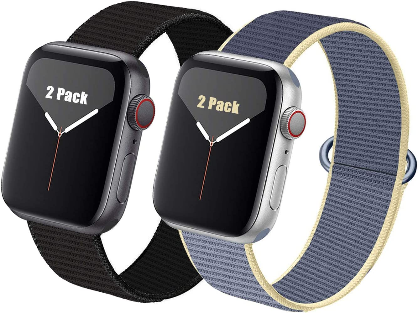RUOQINI 2 Pack Strap Compatible with Apple Watch Band 38mm 40mm 42mm 44mm,Replacement Bands for iWatch Series 5/4/3/2/1