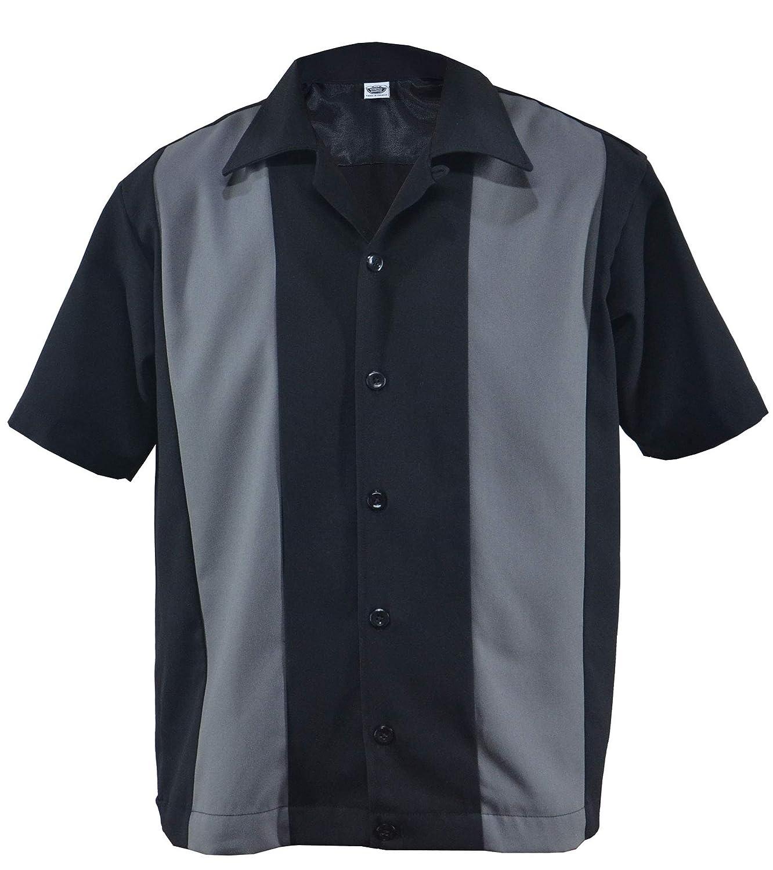Rockabilly Two Tone Gabardine Lounge 50 - Camisa de estilo bowling negro/gris M: Amazon.es: Ropa y accesorios