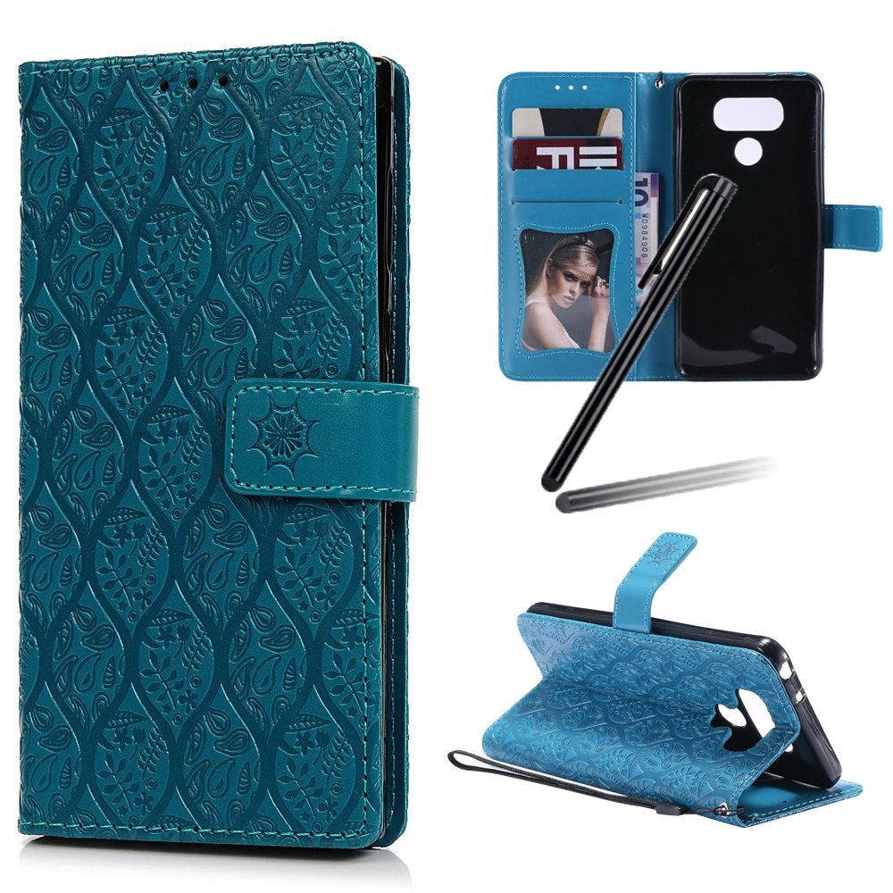 LG G6 Wallet Case, LG G6 Stand Case Girl, LG G6 Leather Cover, SKYMARS Weave Flower Pattern Embossed Pattern Synthetic PU Leather Fold Wallet Pouch Case Wallet Flip Stand Credit Card ID Holders Protective Case Cover for LG G6 Weave Green