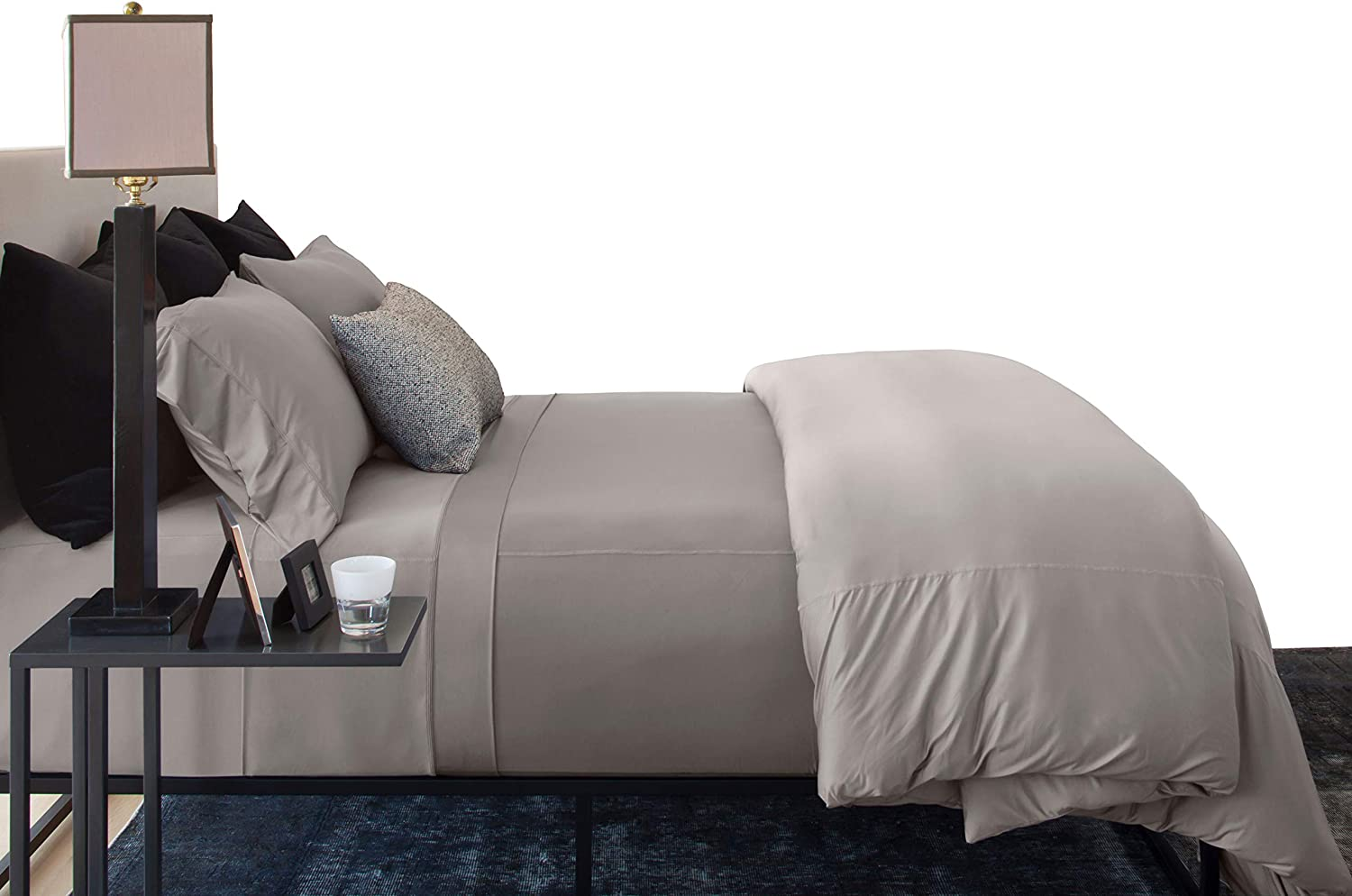 SHEEX Active Comfort Sheet Set Powered,Ultra-Soft, Breathes Better Than Cotton - Pewter, Queen