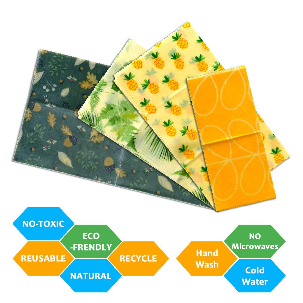 ecol/ógico aperitivos paquete de 4 paquetes de cera de abeja reutilizable certificado por la FDA frutas o queso Envoltorios de cera de abeja envoltura grande para s/ándwich sin pl/ástico