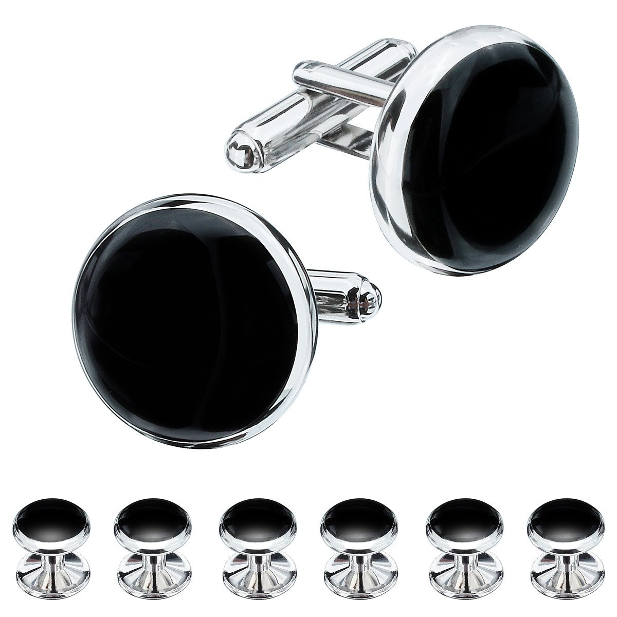HAWSON Mens Black Cufflinks and Studs Set for Tuxedo Dress Shirt - Wedding Business Party Accessories