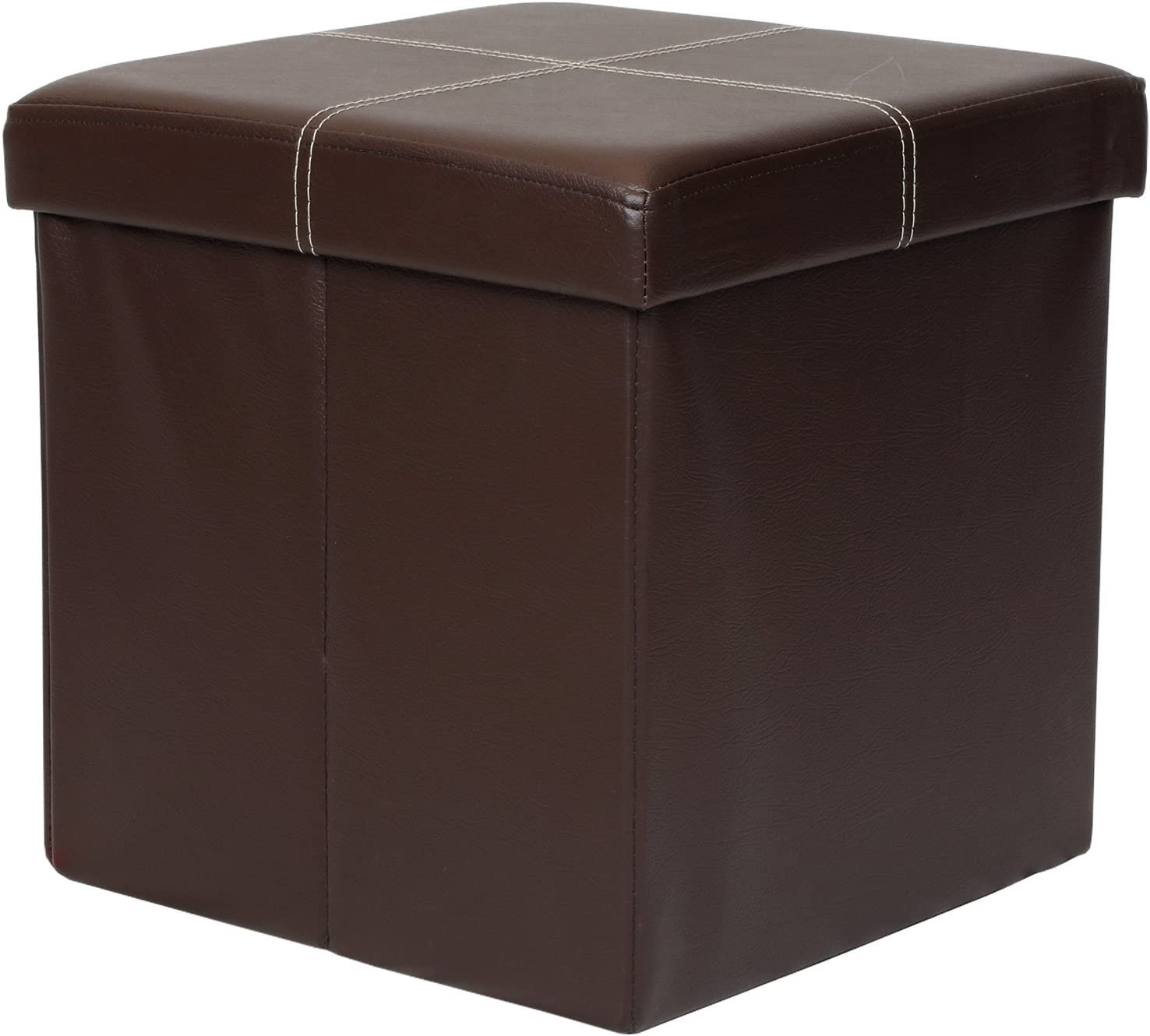 Otto & BenFolding Toy Box Chest with Memory Foam Seat, Faux Leather Small Ottomans Bench Foot Rest Stool, Line Brown