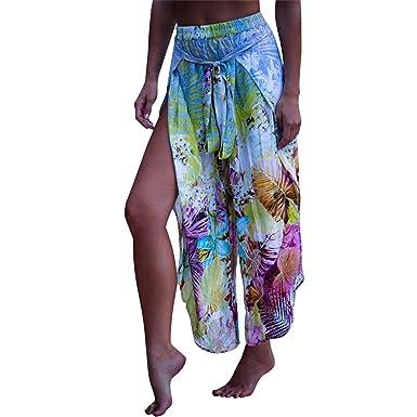 f4ea691dcf Reedbler Sexy Side Split Wide Leg Pants Women Boho Summer Beach Floral  Print Long Pants Elastic