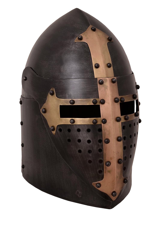Olla Casco con visera plegable, 1,6mm, acero antiguo acabado de Battle Merchant–Medieval Casco 1716413504