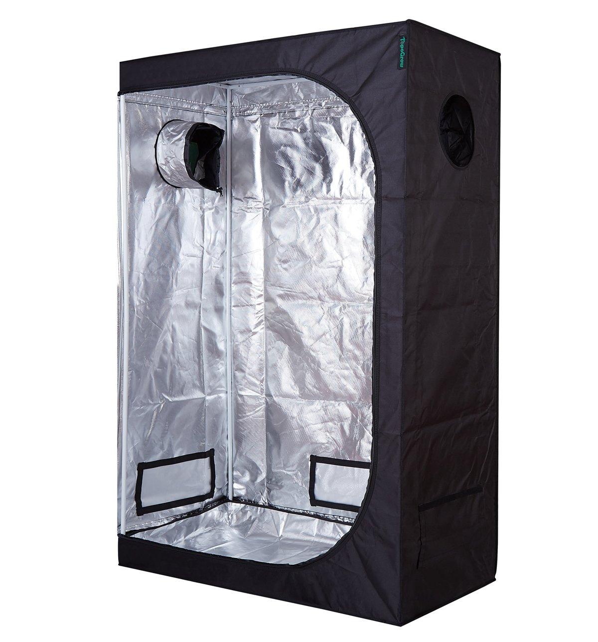 TopoGrow D-Door 48''x24''x72'' Indoor Grow Tent Room 600D Mylar High Reflective non Toxic Hut, 4'X2'