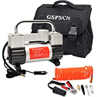 $59 » GSPSCN Silver Tire Inflator Heavy Duty Double Cylinders with Portable Bag, Metal 12V Air…