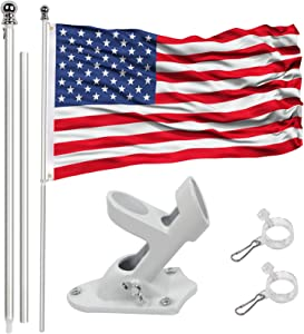 6 ft Flag pole kit,Heavy Duty American flag with pole,Tangle Free Spinning Flag Pole with Bracket for Outdoor-house Garden Truck Yard Roof Residential or Commercial (Flag Pole+Bracket+Flag)