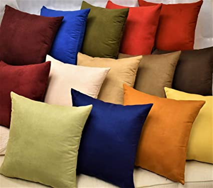Enjoyable Moonrest Pack Of 2 Suede Square Decorative Throw Pillow Covers Sofa Sham Solid Colors Couch Cushion Pillowcases 20 X 20 Cool Black Unemploymentrelief Wooden Chair Designs For Living Room Unemploymentrelieforg