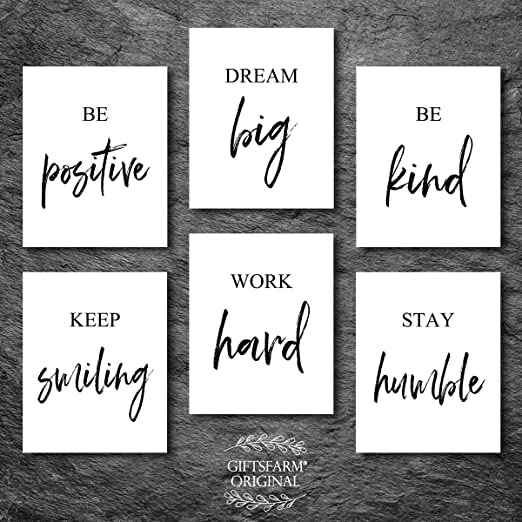 Wall Art Quote Motivation Poster Print Life Frame Live Simple Dream BIG
