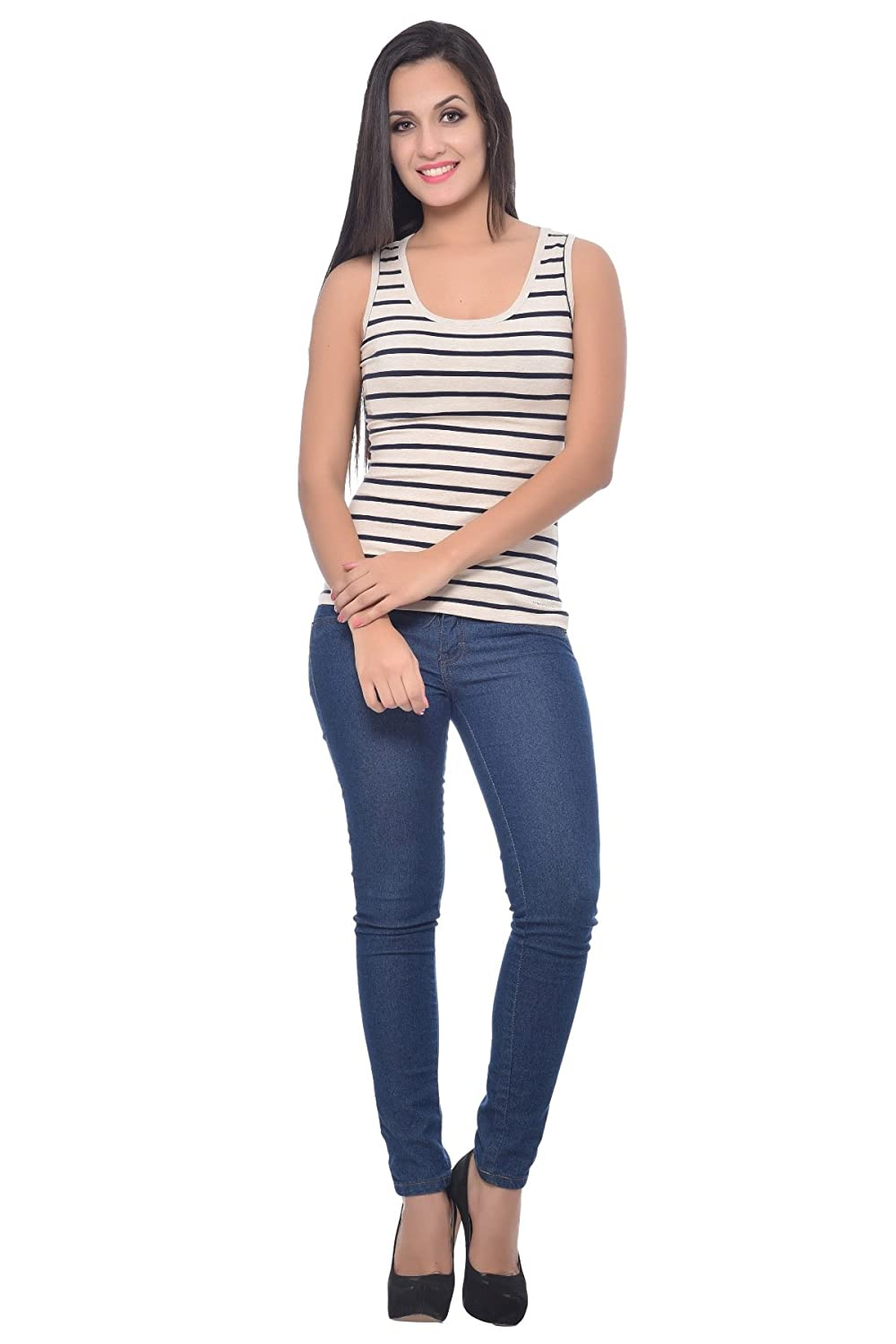 81146dc7d6 Frenchtrendz Women Cotton Spandex Medium Tank Top: Amazon.in: Clothing &  Accessories