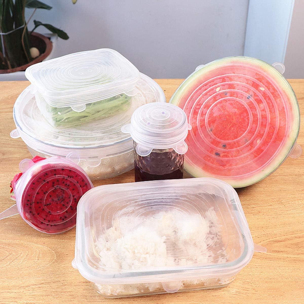 Tapas de Estiramiento de Silicona Verde + Transparente 12 Paquetes de Cubierta para el Ahorro de Alimentos Tapas de Almacenamiento de Alimentos Saver Tapas El/ásticas