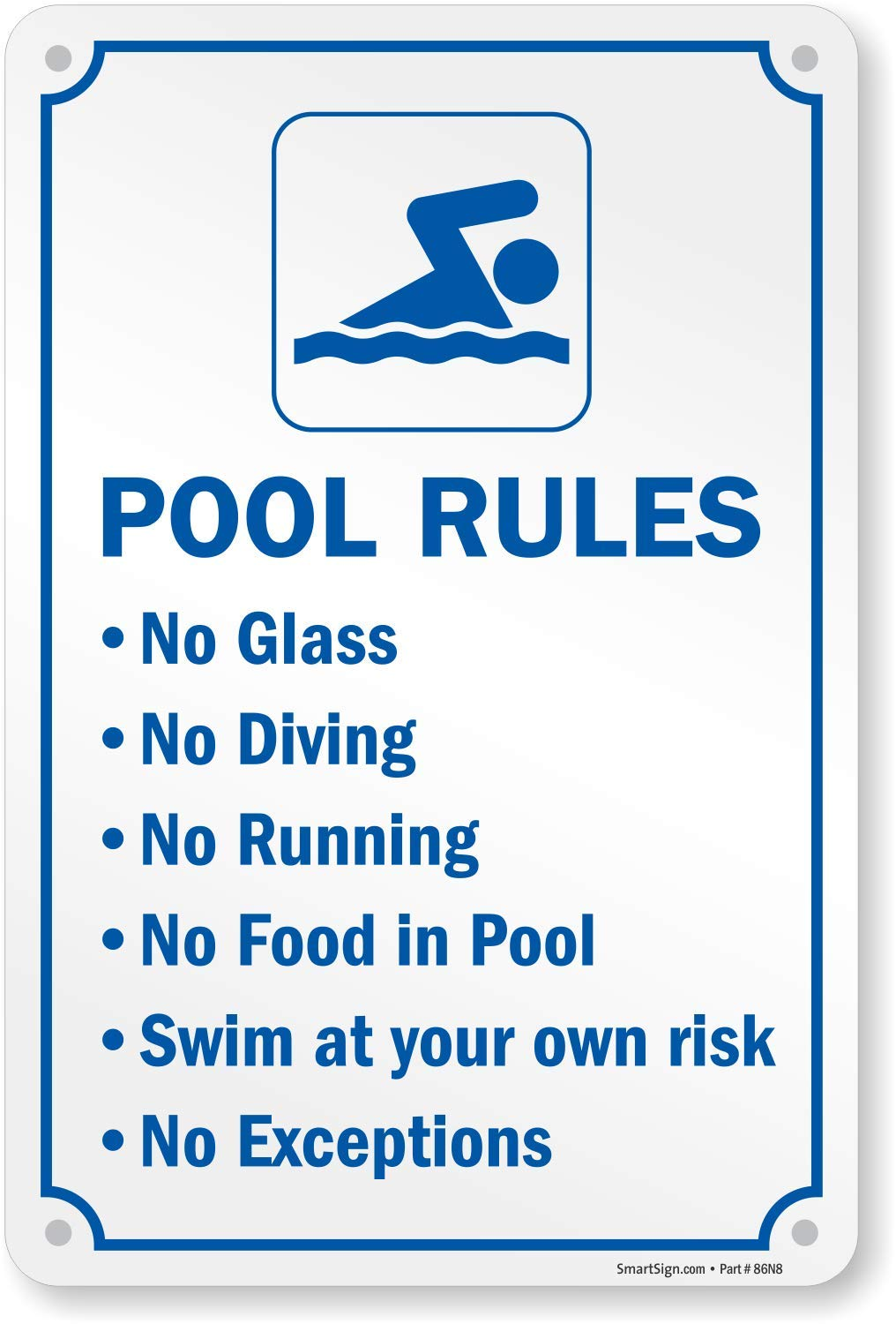 SmartSign ''Swimming Pool Rules'' Sign | 12'' x 18'' Aluminum by SmartSign