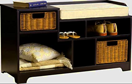 Amazoncom Cubby Storage Bench Cushion Entryway Bench With Cushion