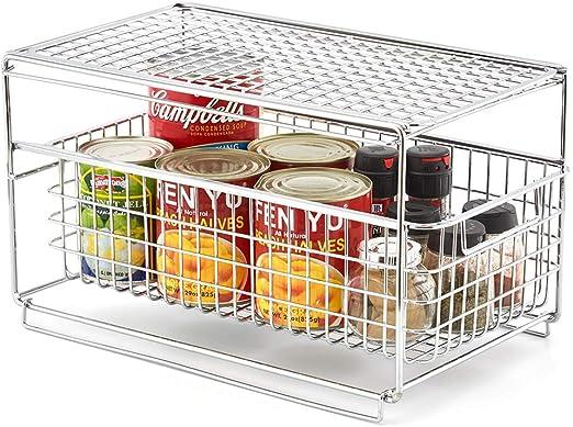 EZOWare Estante con Cajón Organizador y Almacenamiento del Mueble Debajo Fregadero Lavabo para Cocina Baño Habitaciones Estantería Armario, Cromado