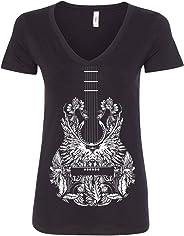 Bandana Guitar Women's V-Neck T-Shirt Music Country Art Rock Gospel Tee
