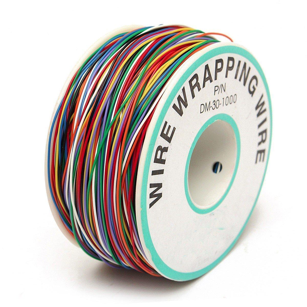 ELEGIANT Wrapping Test, câble de Test Wrapping Fil de cuivre Fil bobiné Enrouleur de câble Rouleau de p/n B 30–1000200M 30AWG 8Wire Câble de Couleur