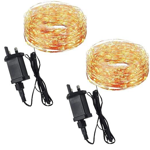c135cc5c0deb (2 Pack) 12M Outdoor / Indoor Copper Wire Fairy Lights Plug in for Bedroom